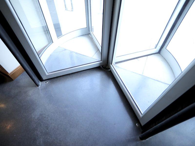 Floor shot at a revolving door