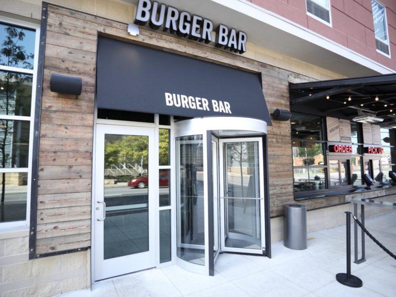 Entrance to Burger Bar with a revolving door