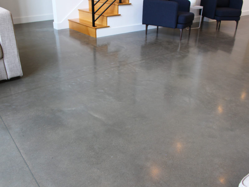 Staircase ending on a polished concrete floor