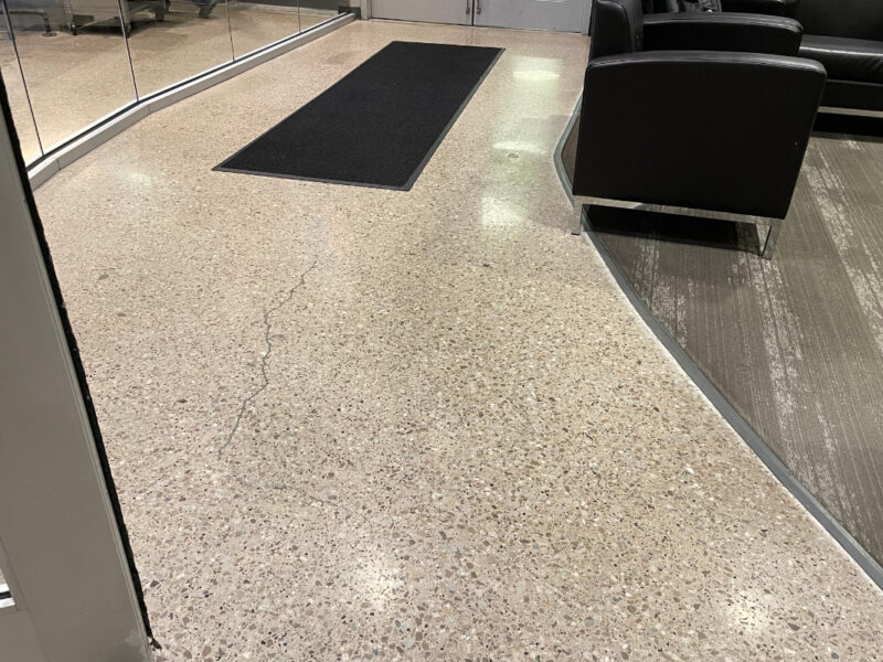 Waiting area with polished concrete and walk on carpet