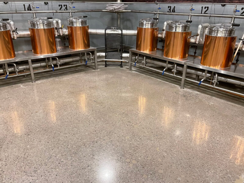 Polished concrete floor in small brewing area