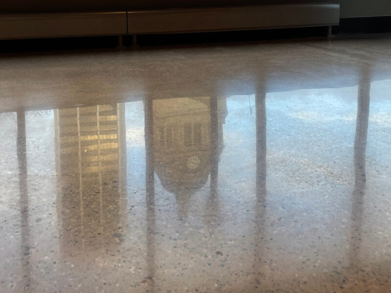 Reflection in polished concrete
